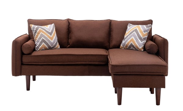 Lilola Home Mia Brown Sectional With Pillows LILO-89628BN