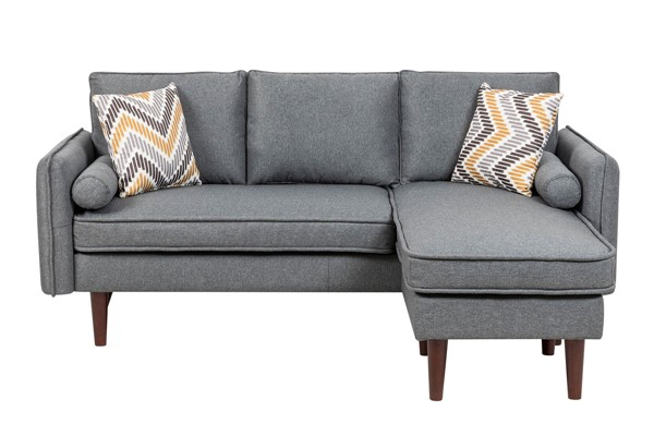 Lilola Home Mia Gray Sectional With Pillows LILO-89628