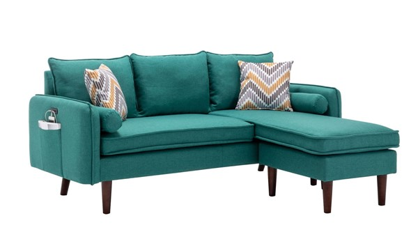 Lilola Home Mia Green Sectional With Pillows LILO-89628GN