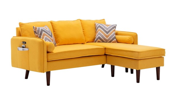 Lilola Home Mia Yellow Sectional With Pillows LILO-89628YW