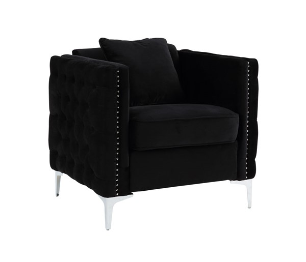 Lilola Home Bayberry Black Chair with Pillow LILO-89634-C
