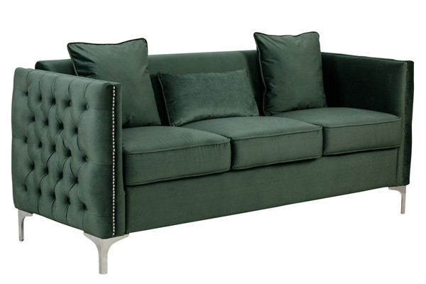 Lilola Home Bayberry Green Sofa With Pillow LILO-89634GN-S