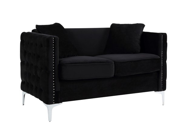 Lilola Home Bayberry Black Loveseat With Pillow LILO-89634-L