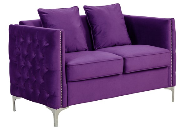 Lilola Home Bayberry Purple Loveseat With Pillow LILO-89634PE-L