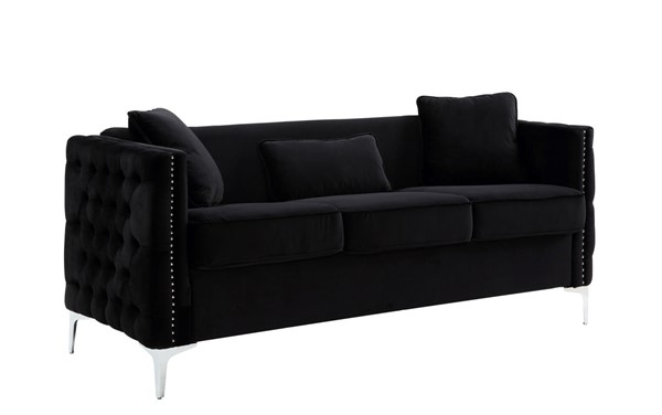 Lilola Home Bayberry Black Sofa With Pillow LILO-89634-S