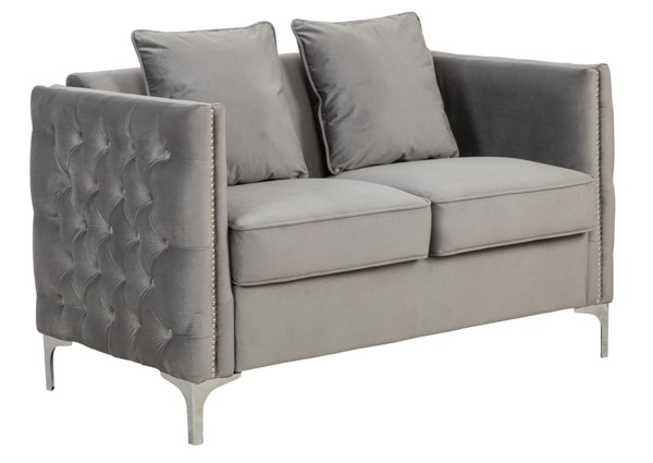 Lilola Home Bayberry Gray Loveseat With Pillow LILO-89635-L