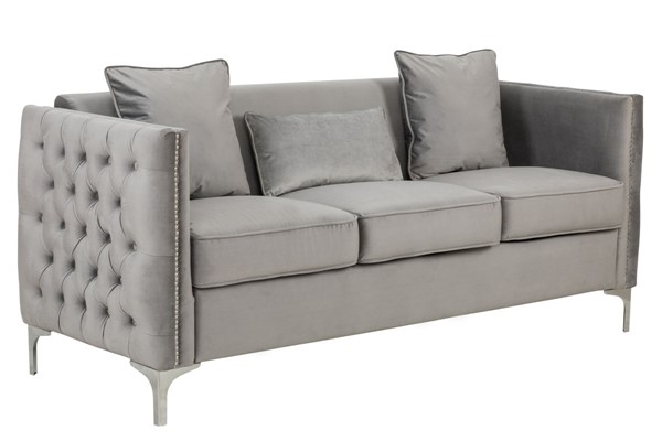 Lilola Home Bayberry Gray Sofa With Pillow LILO-89635-S