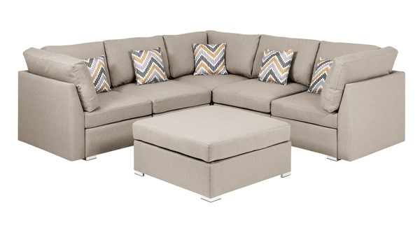Lilola Home Amira Beige Fabric Reversible Sectional with Ottoman and Pillows LILO-89820-2