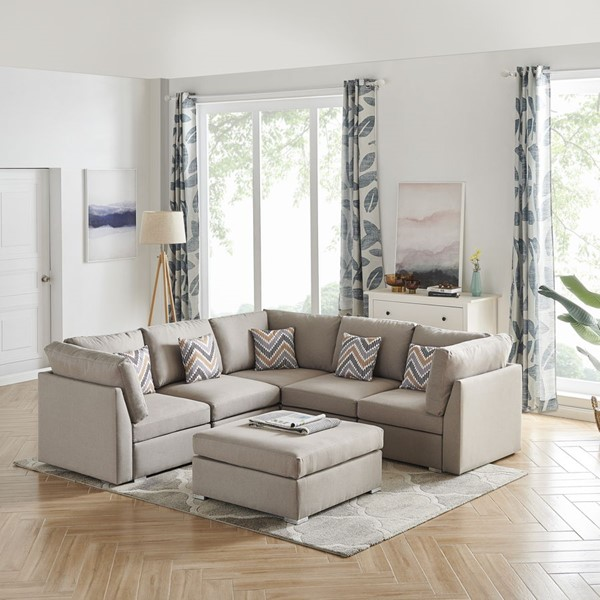 Lilola Home Amira Fabric Reversible Sectional with Ottoman and Pillows LILO-8982-2-SEC-VAR