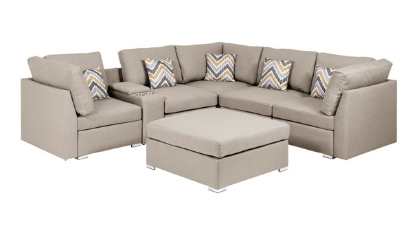 Lilola Home Amira Beige Fabric Reversible USB Sectional with Ottoman LILO-89820-4