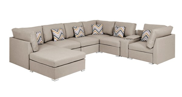 Lilola Home Amira Beige Fabric Reversible Console Sectional with Ottoman LILO-89820-6
