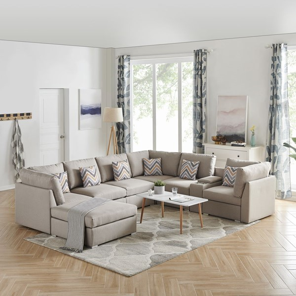 Lilola Home Amira Fabric Reversible Console Sectionals with Ottoman LILO-8982-6-SEC-VAR
