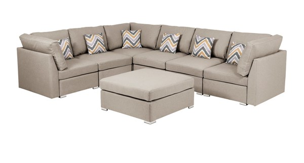 Lilola Home Amira Beige Fabric Reversible Modular Sectional with Ottoman LILO-89820-7