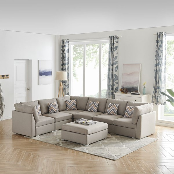 Lilola Home Amira Fabric Reversible Modular Sectionals with Ottoman LILO-8982-7-SEC-VAR