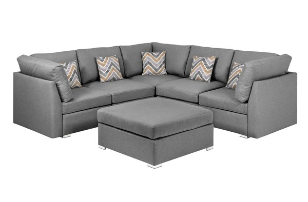 Lilola Home Amira Gray Fabric Reversible Sectional with Ottoman and Pillows LILO-89825-2