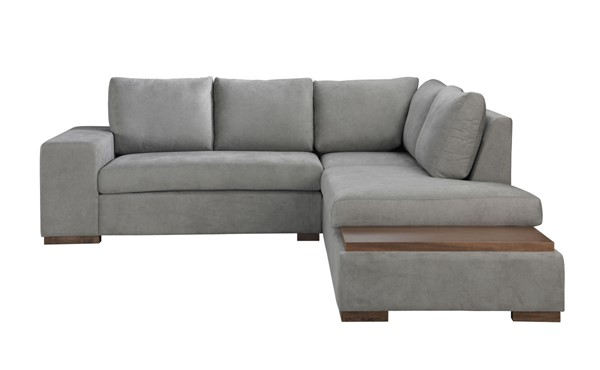Lilola Home Bianca Light Gray Fabric Sectional with RAF Chaise LILO-89285