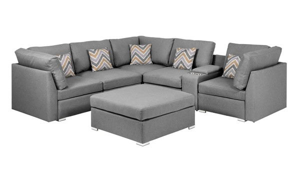 Lilola Home Amira Gray Fabric Reversible USB Sectional with Ottoman LILO-89825-4
