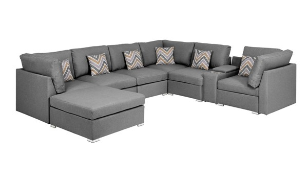 Lilola Home Amira Gray Fabric Reversible Console Sectional with Ottoman LILO-89825-6