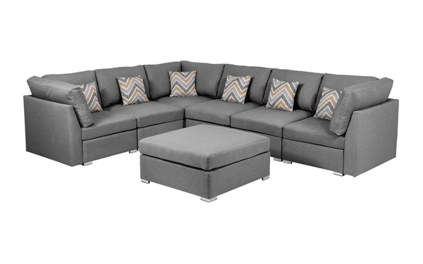 Lilola Home Amira Gray Fabric Reversible Modular Sectional with Ottoman LILO-89825-7