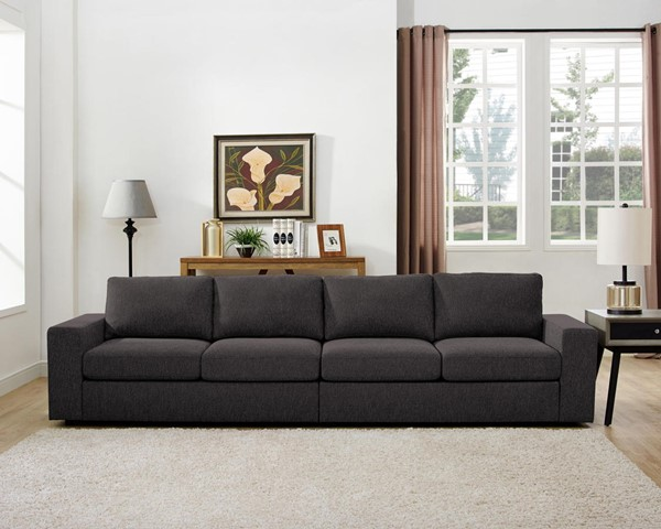 Lilola Home Jules Dark Gray Linen Sofa LILO-81801-11