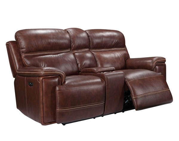 Leather Italy Shae Fresno Brown Console Loveseat LIU-1555-EH2394C-021004LV