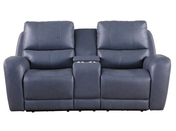 Leather Italy Cambria Bel Air Blue Console Loveseat LIU-1444-EH295C-026027LV