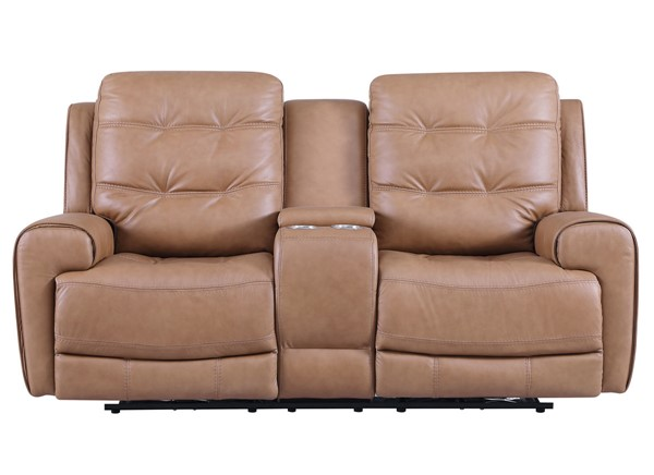 Leather Italy Cambria London Caramel Brown Console Loveseat LIU-1444-EH6520C-023601LV