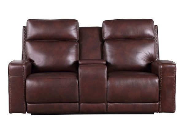 Leather Italy Cambria Blaine Brown Console Loveseat LIU-1444-EH6720C-021903LV