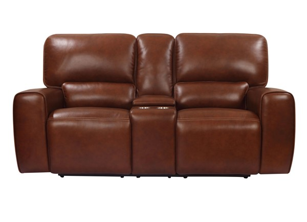 Leather Italy Shae Broadway Brown Console Loveseat LIU-1555-EH9049C-028540LV