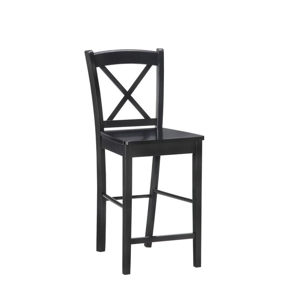 Elegant Black Wood Cross Back Counter Stool LN-01709BLK-01-KD-U