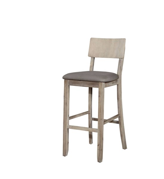 Jordan Gray Acacia Solid Wood Fabric Foam Bar Stool LN-017102GWSH01U
