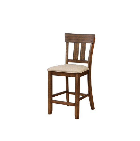 Melville Transitional Beige Walnut Solid Wood Fabric Counter Stool LN-01869BRN01