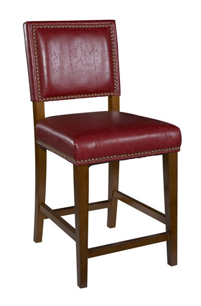 Brook Contemporary Red PVC Foam Brown Rubberwood Counter Stool LN-0232RED-01-KD-U