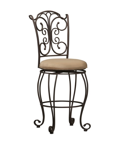 Elegant Light Brown Metal Fabric Armless Stools LN-02790MTL-01-KD-U-VAR