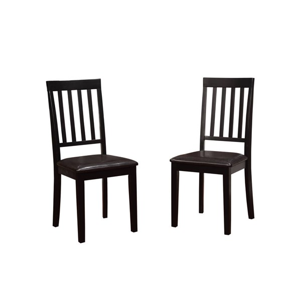 2 Cayman Classic Black Hardwood PU Dining Chairs LN-030431WAL02U