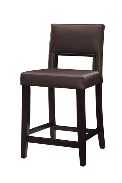 Vega Elegant Brown PVC Espresso Solid Wood 24 Inch Counter Stool LN-14053VESP-01-KD-U