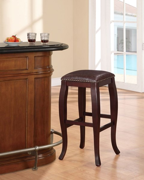 San Francisco Wood PU Square Top Bar Stools LN-178205-01-VAR