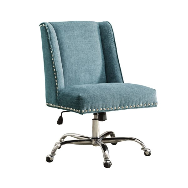 Draper Aqua Pine Rubberwood CA Foam Fabric Metal Casters Office Chair LN-178404AQUA01U