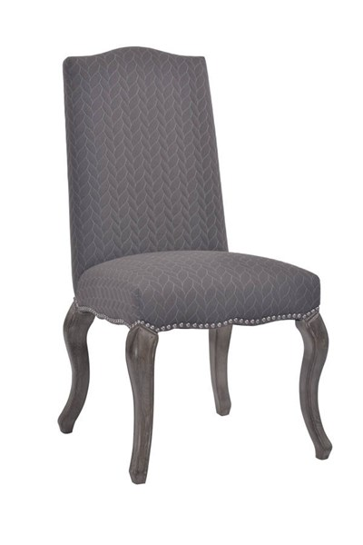 2 Gray Wood Oak Grey Fabric Quilted Cabriolet Upholstered Chairs LN-178425GRY02U