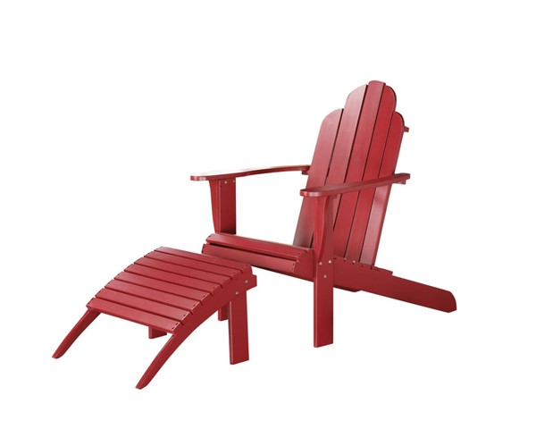Adirondack Classic Red Solid Wood Outdoor Chair & Ottoman Set LN-21150RED-CHO