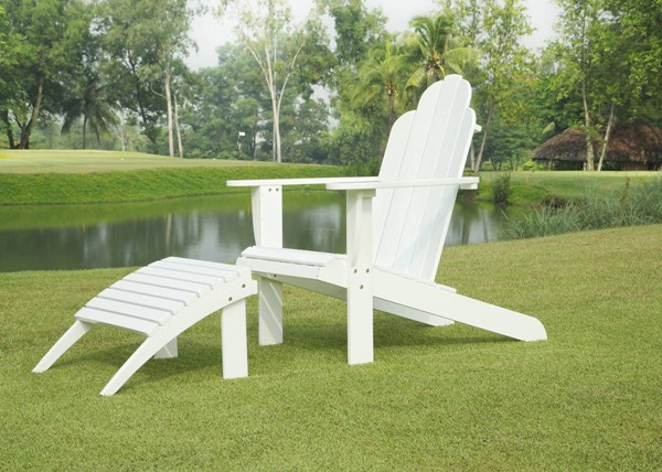 Adirondack Classic White Solid Wood Outdoor Chair & Ottoman Set LN-21150WHT-CHO