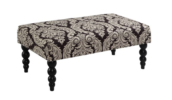 Claire Black White Solid Wood Fabric Jacquard Bench LN-36110BLKW01U