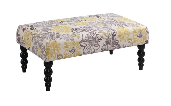 Claire Gray Yellow Black Solid Wood CA Fire Foam Fabric Floral Bench LN-36110BRID01U