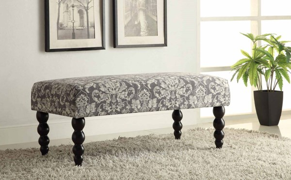 Claire Gray Damask Fabric Black Solid Wood Bench LN-36110GDAM01U