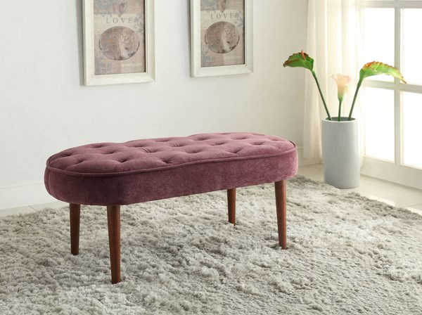 Elegance Wood Fabric Oval Tufted Seat Benches LN-36116-01U-VAR