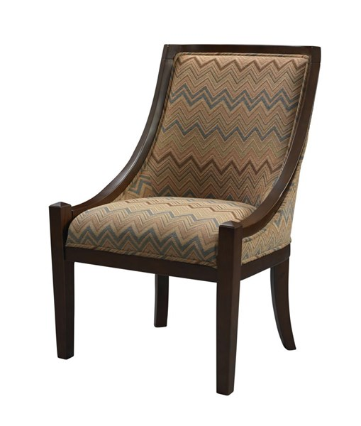 Carnegie Traditional Brown Chevron Hardwoods Fabric Chair LN-36251BAR-01-KD-U