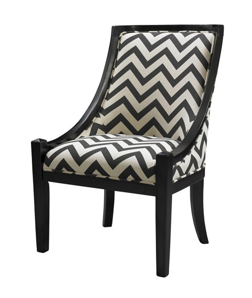 Carnegie Traditional Black Chevron Hardwoods Fabric Chair LN-36251CHEV-01-KD-U