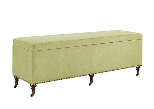 Cassidy Lime Dark Walnut Hardwood CA Fire Foam Fabric Storage Bench LN-368318LIME01U