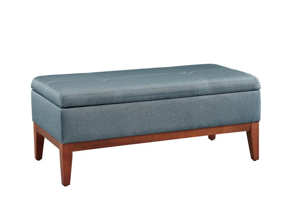 Emma Transitional Brown Blue Fabric Cherry Chinese Hardwood Bench LN-417522LBRN01U