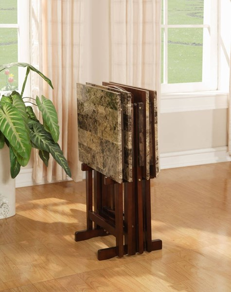 Brown Rubberwood Faux Marble Paper MDF Tray Table Set LN-43001TILSET-01-AS